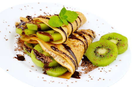 French style crepes with kiwi over white