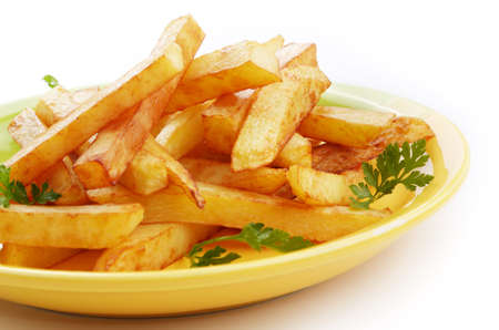 Dish with french fries over white background photo