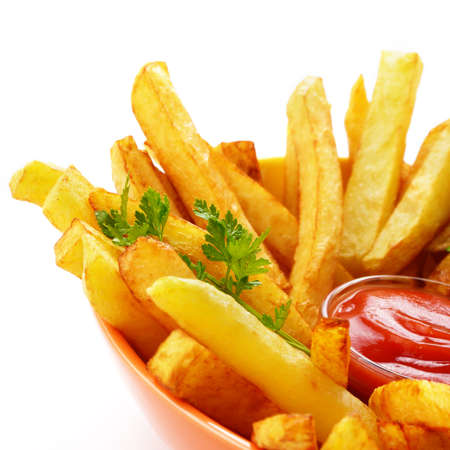 deep fry: French fries with ketchup over white background