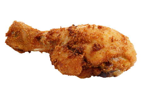 Grilled chicken leg isolated over white background