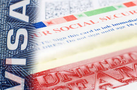 citizenship: Visa social security background collage macro photo