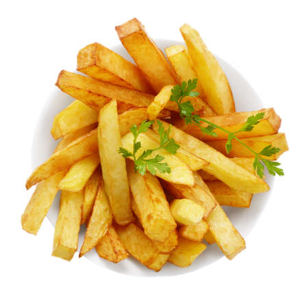 Dish with french fries isolated over white background photo
