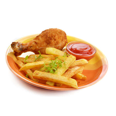 Fried chicken legs with french fries isolated over white photo