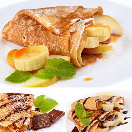 crepas: Crepes franceses del estilo de pl�tano, jarabe de chocolate y patatas fritas collage Foto de archivo