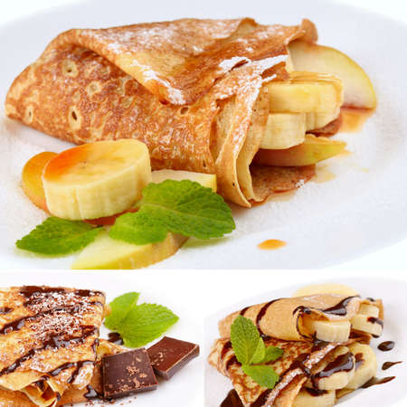 French style banana crepes, chocolate syrup and chips collage photo