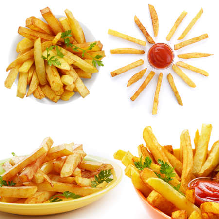 French fries with ketchup over white background collage photo