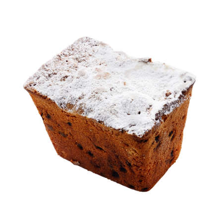 Raisin cake with powder sugar over white background photo