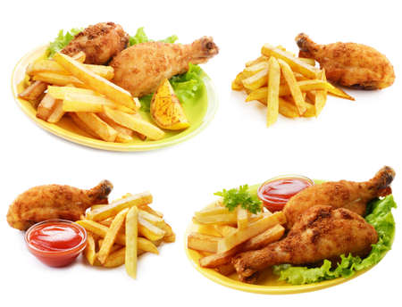 pollo frito: Palillos fritos con salsa de tomate y papas fritas francés aisladas sobre blanco