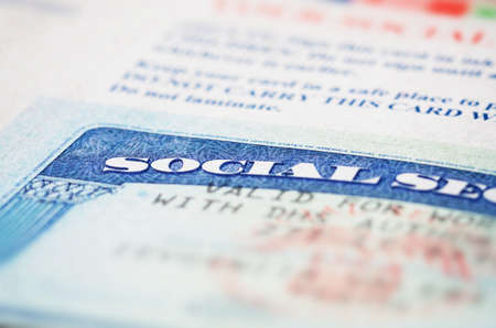 social work: Blue social security card macro shot Stock Photo