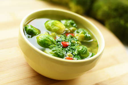Homemade vegetable soup with brussels sprouts photo