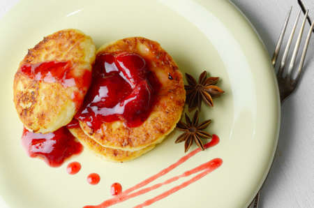 Pan-Fried Cottage Cheese Patties with strawberry jam photo