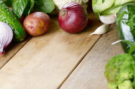copyspace: Fresh green vegetable set on the wooden table with copy-space Stock Photo