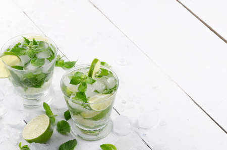 Fresh cold lime mojito on white table with copy-space Stock Photo