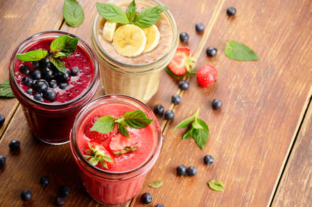 appetising: Blueberry strawberry and banana mix smoothie on the table Stock Photo