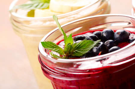 appetising: Blueberry and banana mix smoothie on the table