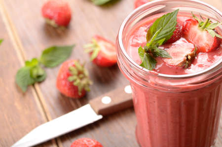 mouth watering: Strawberry smoothie on the table
