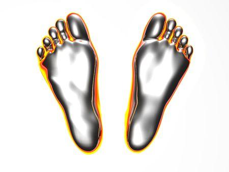 glowing footprints