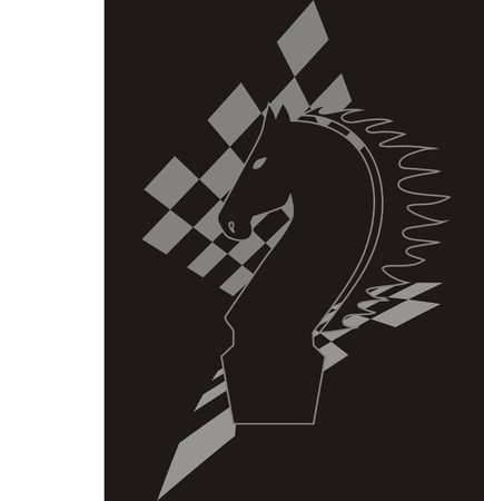 Silhouette of the chess knight against the background chess board  Stock Photo