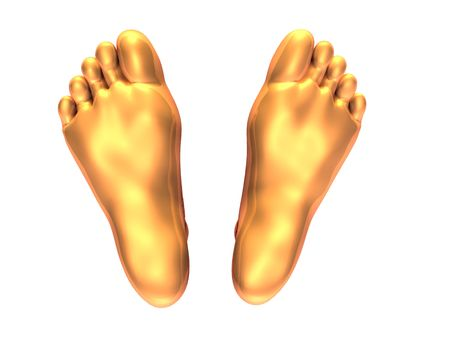 3D generated human feet in golden color