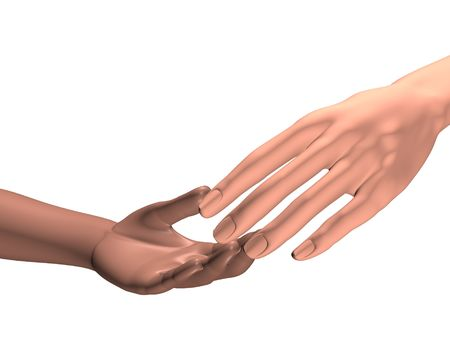hand of an adult touching a hand of a child