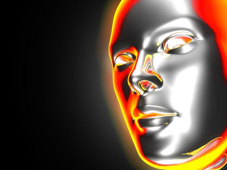 closeup of a glowing 3D female face with place for text  Stock Photo