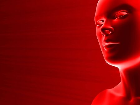 closeup of a 3D female face in red with place for text Stock Photo