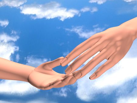 Two human hands in touch