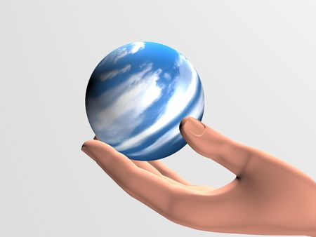 defenseless: human hand with a small defenseless planet