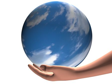earthly: human hand with a blue planet