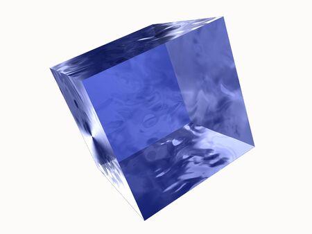 3d transparent blue ice cube Stock Photo