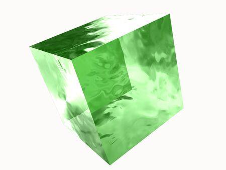 transparent green glass cube isolated
