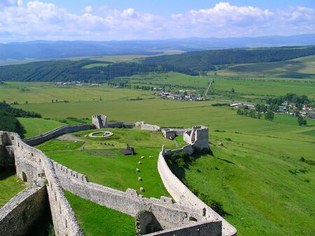 Birds view of ruins of a medieval castle in Slovakia Europe photo
