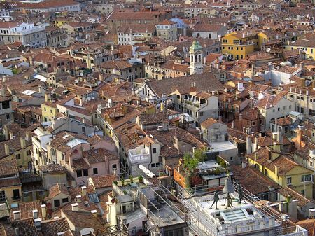 Birds view of old town roofs Venice Italy Stock Photo
