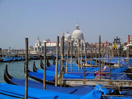 Dock with Gondolas in city Venice Italy Stock Photo