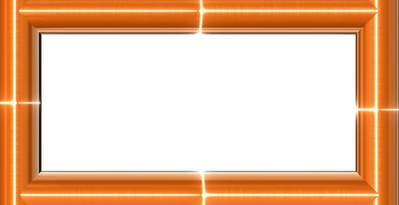 3d generated modern frame made of orange glass reflecting light, with place for text Stock Photo