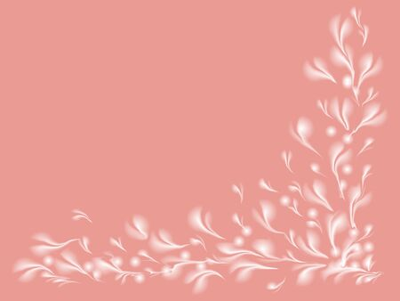 abstract white flowering pattern framing the pink card photo