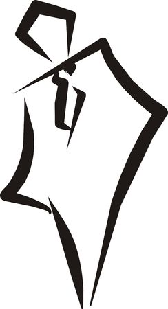 a sketch of an abstract man in the costume with tie on representing logotype of a businessman Stock Photo