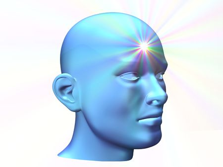 mudra: 3d close up of a man head with shine on forehead