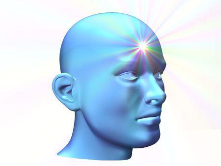 intellect: 3D stretta fino di una testa di uomo con brillare sulla fronte Archivio Fotografico