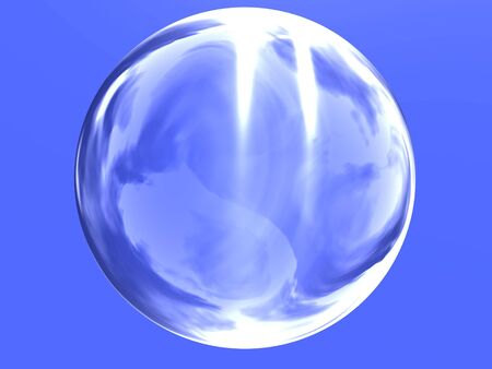 a blue reflecting light glass sphere on blue background photo