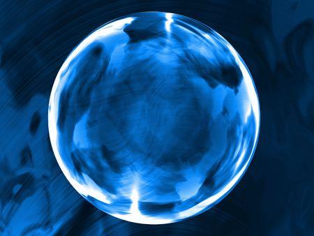 transparent indigo blue glass sphere on a dark blue reflecting background
