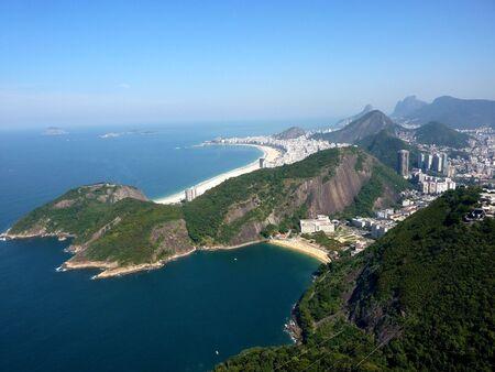 view over Rio de Janeiro and Copacabana beach taken from Sugar Loaf mountain Stock Photo