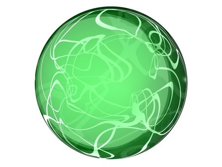 transparent 3d generated glass button with inside reflections and smooth abstract pattern Stock Photo