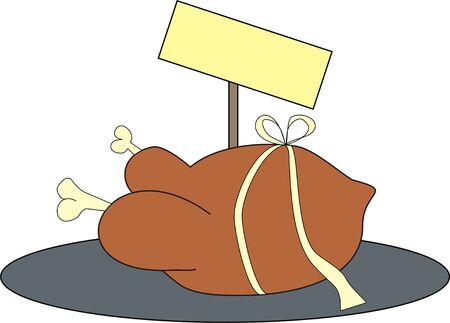 dish number 1, funny turkey in a present package on a plate, with empty signboard behind it
