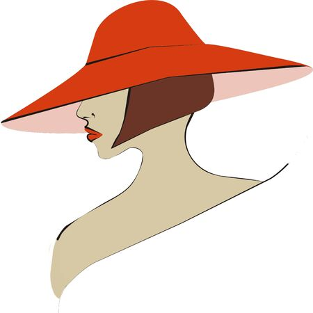 close up of a young womans profile in a stylish fashionable hat  Stock Photo