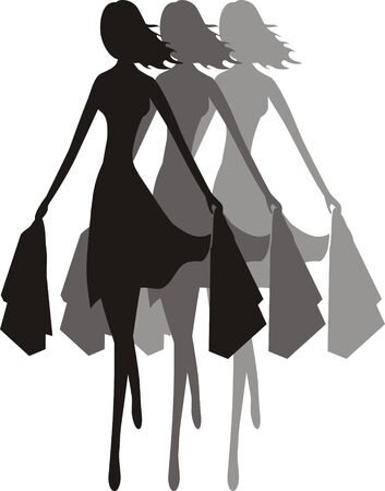 Reflection of a silhouette of a girl in a shopping hurry, with shopping bags in her both hands