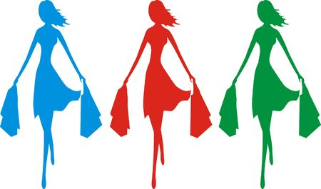 sale time, Three colorful silhouettes of a young slim and stylish girl in a move bearing shopping bags
