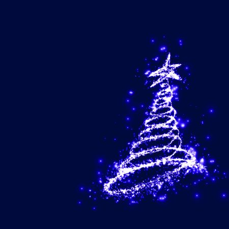 Christmas magic. Christmas tree at the dark blue holy night of magic