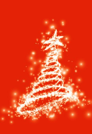 expectation:  fairy tail of Christmas and new year christmas greeting and expectation. Christmas tree in gold