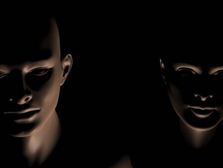 3d generated close up faces of man and woman in darkness, with place for text between them  photo